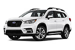 Stock pictures of low aggressive front three quarter view of a 2019 Subaru Ascent Limited 5 Door SUV