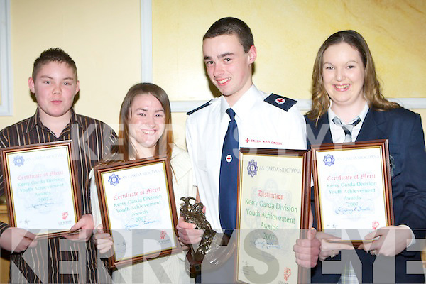 GARDA: Merit Award winners Kenneth Mannix and Michelle Teahan both Ballybunion, Special Award winner James McDonnell, Oakpark and Merit Award winner Aisling O'Donnell, Cahill's Park at The Kerry Garda Youth Achievement Awards Night, in association with Lee Strand, in The Brandon Hotel on Friday night.   Copyright Kerry's Eye 2008