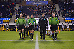 GREENSBORO, NC - DECEMBER 02: Officials lead Messiah College and North Park University onto the field before the Division III Men's Soccer Championship held at UNC Greensboro Soccer Stadium on December 2, 2017 in Greensboro, North Carolina. Messiah College defeated North Park University 2-1 to win the national title. (Photo by Grant Halverson/NCAA Photos via Getty Images)