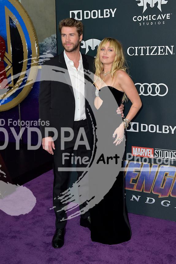 Liam Hemsworth mit Ehefrau Miley Cyrus bei der Weltpremiere des Kinofilms 'Avengers: Endgame' im Los Angeles Convention Center. Los Angeles, 22.04.2019