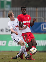 Oliver Skipp of Spurs U19 & Ibrahima Diallo of AS Monaco FC Youth during the UEFA Youth League round of 16 match between Tottenham Hotspur U19 and Monaco at Lamex Stadium, Stevenage, England on 21 February 2018. Photo by Andy Rowland.