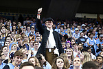 CHAPEL HILL, NC - FEBRUARY 12: A UNC student wearing a tricorne hat. The University of North Carolina Tar Heels hosted the University of Notre Dame Fighting Irish on February 12, 2018 at Dean E. Smith Center in Chapel Hill, NC in a Division I men's college basketball game. UNC won the game 83-66.