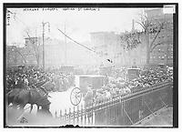 Morgan funeral leaving St. George's , J. P. Morgan's funeral was held on 14 April, 1913