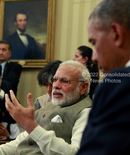 Prime Minister Narendra Modi of India makes remarks to the media during his meeting with United States President Barack Obama in the Oval Office of the White House in Washington, DC on June 7, 2016.  During their meeting the leaders discussed a number of topics including cybersecurity, climate change, and economic cooperation.<br /> Credit: Dennis Brack / Pool via CNP
