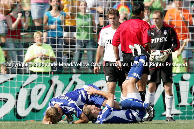 30 July 2005: Taylor Twellman (below left) bowls over Ronnie O'Brien (below right) after O'Brien's 56th minute goal had given the MLS All-Stars a 2-1 lead. Major League Soccer's All-Stars defeated Fulham FC of the English Premier League 4-1 at Columbus Crew Stadium in Columbus, Ohio in the 2005 Sierra Mist MLS All-Star Game..