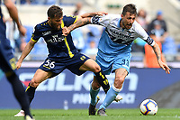 Perparim Hetemaj of AC Chievo Verona and Francesco Acerbi of Lazio compete for the ball during the Serie A 2018/2019 football match between SS Lazio and AC Chievo Verona at stadio Olimpico, Roma, April, 20, 2019 <br /> Photo Antonietta Baldassarre / Insidefoto