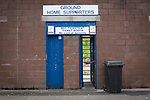 Queen of the South 2 Stranraer 0, 11/08/2015. Scottish Challenge Cup first round, Palmerston Park. A turnstile entrance and sign for home supporters at Palmerston Park, Dumfries, before Queen of the South hosted Stranraer in a Scottish Challenge Cup first round match. The game was the opening match of the season in a competition open to sides below the Scottish Premiership. Queen of the South won the match 2-0, watched by a crowd of 1229 spectators. Photo by Colin McPherson.