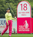 Han Sol Ji of South Korea tees off at the 18th hole during Round 2 of the World Ladies Championship 2016 on 12 March 2016 at Mission Hills Olazabal Golf Course in Dongguan, China. Photo by Victor Fraile / Power Sport Images