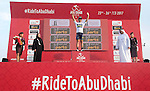Caleb Ewan (AUS) Orica Scott wears the young riders White Jersey at the end of Stage 2 the Nation Towers Stage of the 2017 Abu Dhabi Tour, running 153km around the city of Abu Dhabi, Abu Dhabi. 24th February 2017.<br /> Picture: ANSA/Claudio Peri | Newsfile<br /> <br /> <br /> All photos usage must carry mandatory copyright credit (&copy; Newsfile | ANSA)