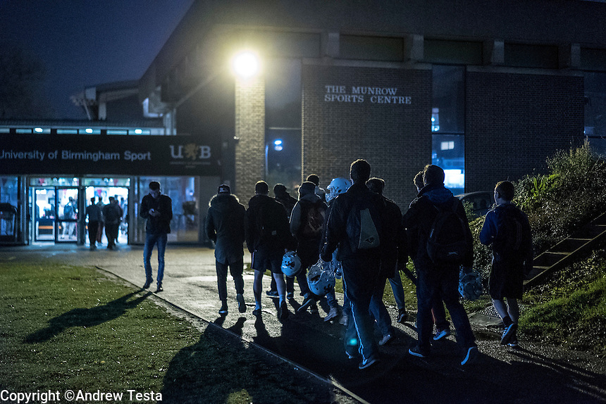 UK. Birmingham. 27th  October 2015<br /> Lions players walk to an evening training session on the University of Birmingham campus.<br /> Andrew Testa for  the New York Times