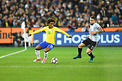 June 9th 2017, Melbourne Cricket Ground, Melbourne, Australia; International Football Friendly; Brazil versus Argentina; Willian Silva of Brazil and Nicolas Otamendi of Argentina contend for the ball