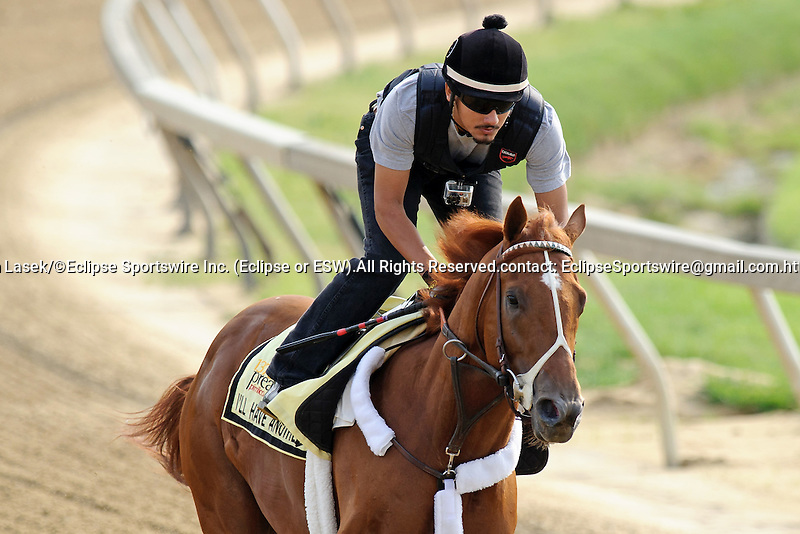 Baltimore, MD- May 16: 138th Kentucky Derby Winner I'll Have Another works out in preps for the 137th Preakness at Pimlico Race Course in Baltimore, MD on 05/16/12. (Ryan Lasek/ Eclipse Sportswire)