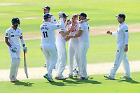 Jamie Porter of Essex celebrates with his team mates after taking the wicket of Cheteshwar Pujara during Essex CCC vs Yorkshire CCC, Specsavers County Championship Division 1 Cricket at The Cloudfm County Ground on 4th May 2018