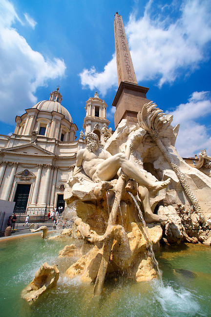 Fountain of the Four Rivers by Bellinio, designed to carry the Egyptian obalisque brough from the Circus Maximus. The 4 figures represent the Nile,  Ganges, Danube amd Rio de la plata. Plazza Novona,  Rome