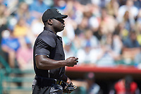 Home plate umpire James Jean works the South Atlantic League game between the Charleston RiverDogs and the Hickory Crawdads at L.P. Frans Stadium on May 13, 2019 in Hickory, North Carolina. The Crawdads defeated the RiverDogs 7-5. (Brian Westerholt/Four Seam Images)