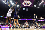 COLUMBUS, OH - APRIL 1: Teaira McCowan #15 of the Mississippi State Bulldogs shoots over Kristina Nelson #21 of the Notre Dame Fighting Irish during the championship game of the 2018 NCAA Division I Women's Basketball Final Four at Nationwide Arena in Columbus, Ohio. (Photo by Justin Tafoya/NCAA Photos via Getty Images)