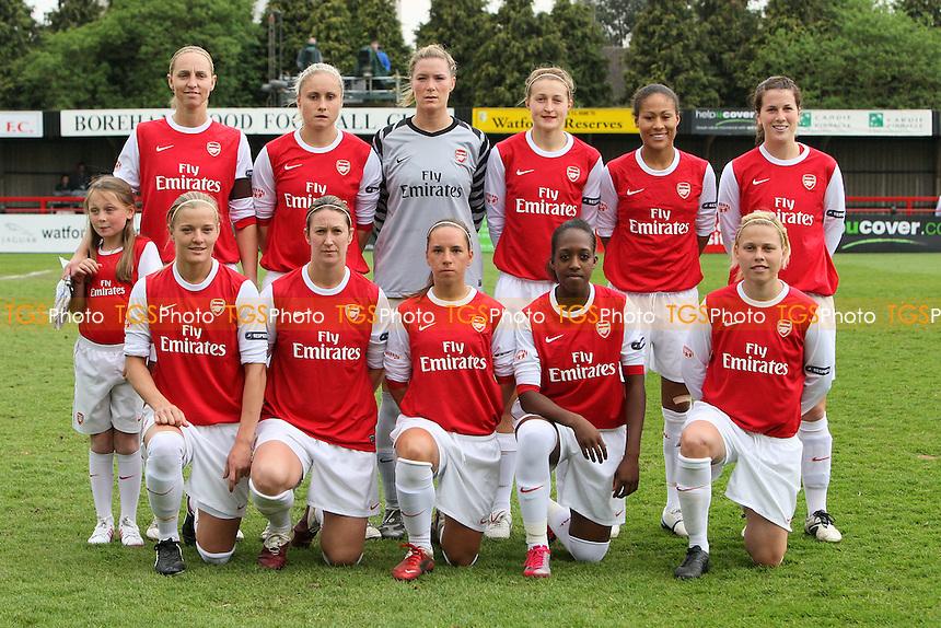 Arsenal Ladies line up for a team photo - Arsenal Ladies vs Olympique Lyonnais - UEFA Women's Champions League Semi-Final 2nd Leg at Boreham Wood FC - 16/04/11 - MANDATORY CREDIT: Gavin Ellis/TGSPHOTO - Self billing applies where appropriate - Tel: 0845 094 6026