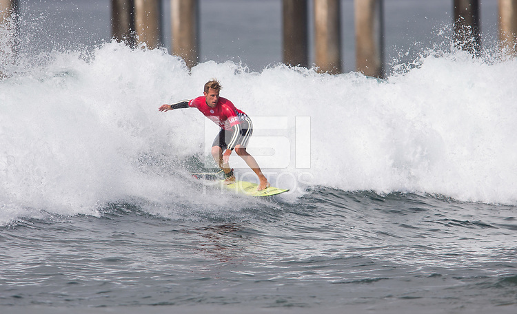 Huntington Beach, CA - Sunday August 06, 2017: Patrick Gudauskas during a World Surf League (WSL) Qualifying Series (QS) Quarterfinal heat in the 2017 Vans US Open of Surfing on the South side of the Huntington Beach pier.
