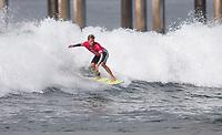 Huntington Beach, CA - Sunday August 06, 2017: Patrick Gudauskas during a World Surf League (WSL) Qualifying Series (QS) Quarterfinal heat in the 2017 Vans US Open of Surfing on the South side of the Huntington Beach pier.