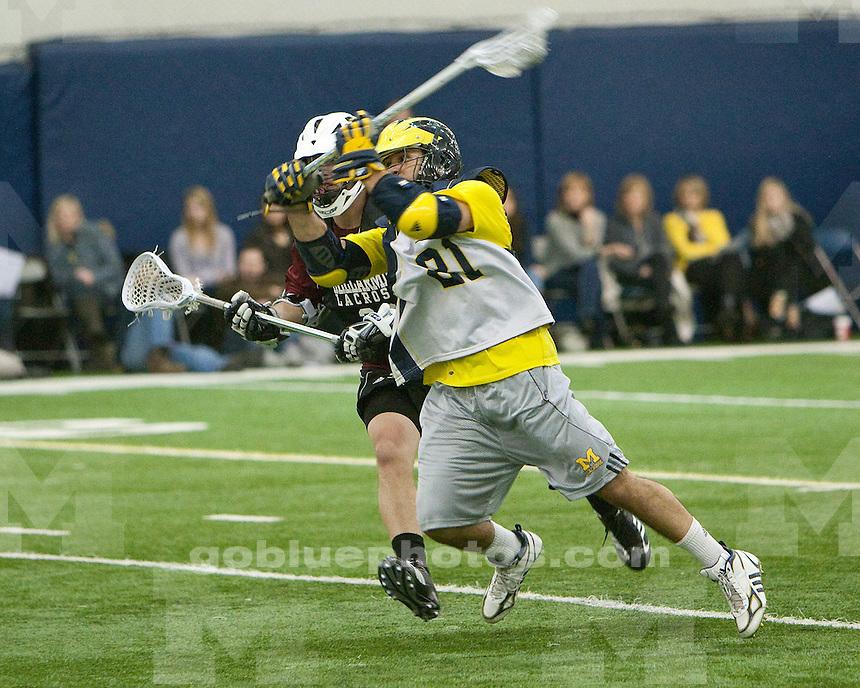 University of Michigan men's lacrosse scrimmage 18-11 loss to Bellarmine at Oosterbaan Fieldhouse in Ann Arbor, MI, on January 29, 2011.