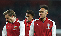 Pierre-Emerick Aubameyang (right) of Arsenal pre match during the Premier League match between Arsenal and Everton at the Emirates Stadium, London, England on 3 February 2018. Photo by Andrew Aleksiejczuk / PRiME Media Images.