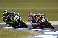 Nicky Hayden (USA) and Valentino Rossi (ITA)  round the corner.<br /> Motorcycles - MotoGP Phillip Island/ Round 15<br /> 2005 Australian Motorcycle Grand Prix<br /> Phillip Island, Victoria, Australia. Oct. 16, 2005<br /> &copy; Sport the library/Courtney Harris