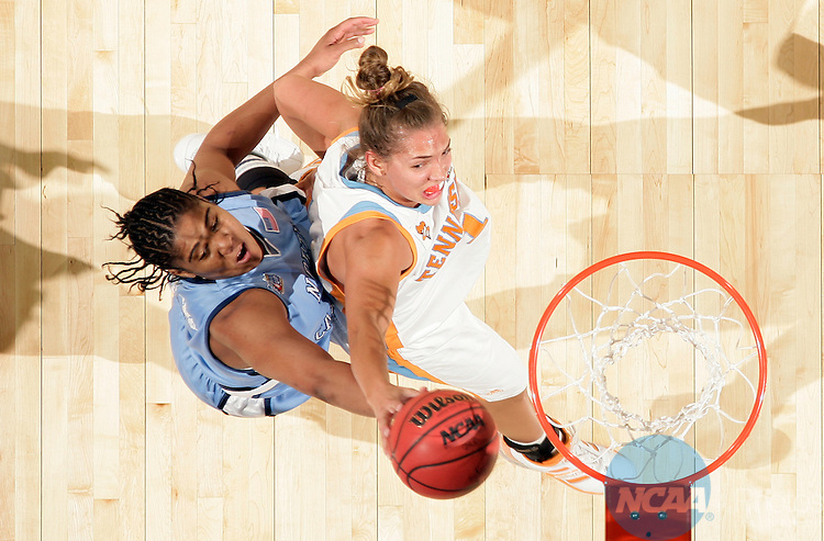 01 APR 2007:  Sidney Spencer (1) of the University of Tennessee and Erlana Larkins (2) of the University of North Carolina battle for a rebound during the NCAA Women's Final Four at Quicken Loans Arena in Cleveland, OH.    Tennessee defeated North Carolina 56-50 to advance to the national title game.  Jamie Schwaberow/NCAA Photos