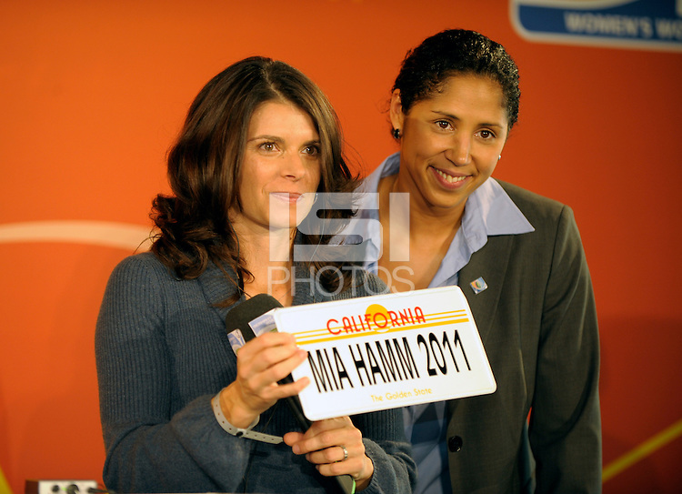 Steffi Jones and Mia Hamm, Ambassadors for the World Women Soccer Championship 2011. US Women's National Team defeated Germany 1-0 at Impuls Arena in Augsburg, Germany on October 29, 2009.