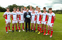 Monday 12th August 2019 | Ulster Schools U18<br /> <br /> Ballymena Academy and Ulster Schools U18 players Andrew Donald, Jordan Millar, Dean Millar, Tim Bailie, Harry Andrews, Paddy Browne, James Wright, Joseph Mawinney, Ross McKay, Josh Drain and Adam Lamont are pictured with Richard Caldwell representing the sponsors Danske Bank during a photo call at the Ulster Schools training base at Newforge Country Club, Belfast, Northern Ireland. Photo by John Dickson / DICKSONDIGITAL