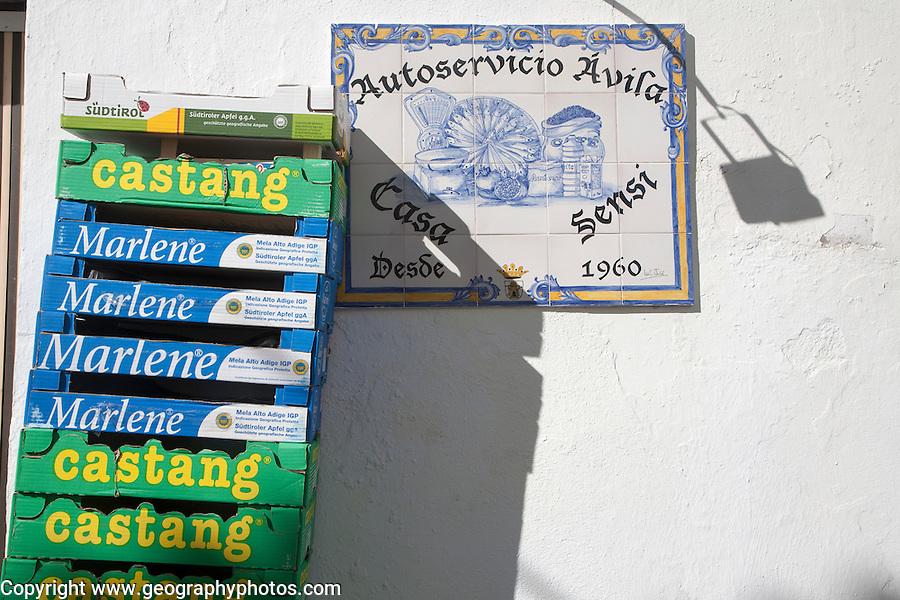 Local shop and mechanic sign, Alhama de Granada, Spain
