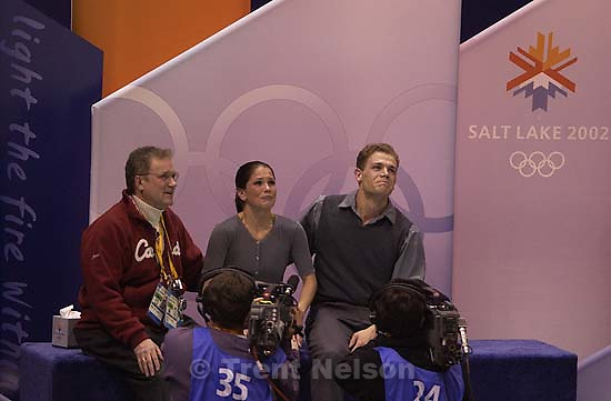 #4 in a series of 6. Silver medal winners Jamie Sale and David Pelletier (Canada) react to controversially low scores. Pairs Free Skating finals Monday night at the Salt Lake Ice Center, 2002 Olympic Winter Games.; 02.11.2002, 9:10:44 PM<br />