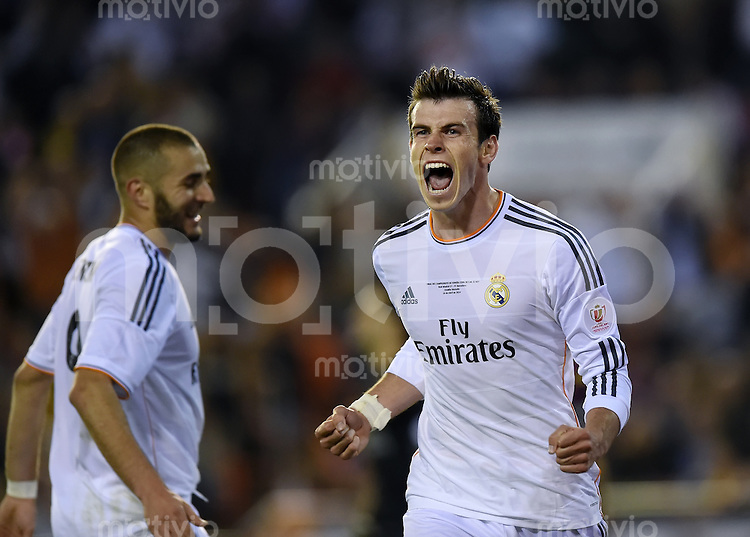 FUSSBALL  INTERNATIONAL Copa del Rey FINALE  2013/2014    FC Barcelona - Real Madrid            16.04.2014 JUBEL Real Madrid; Torschuetze des Siegtreffers zum 1-2 Gareth Bale