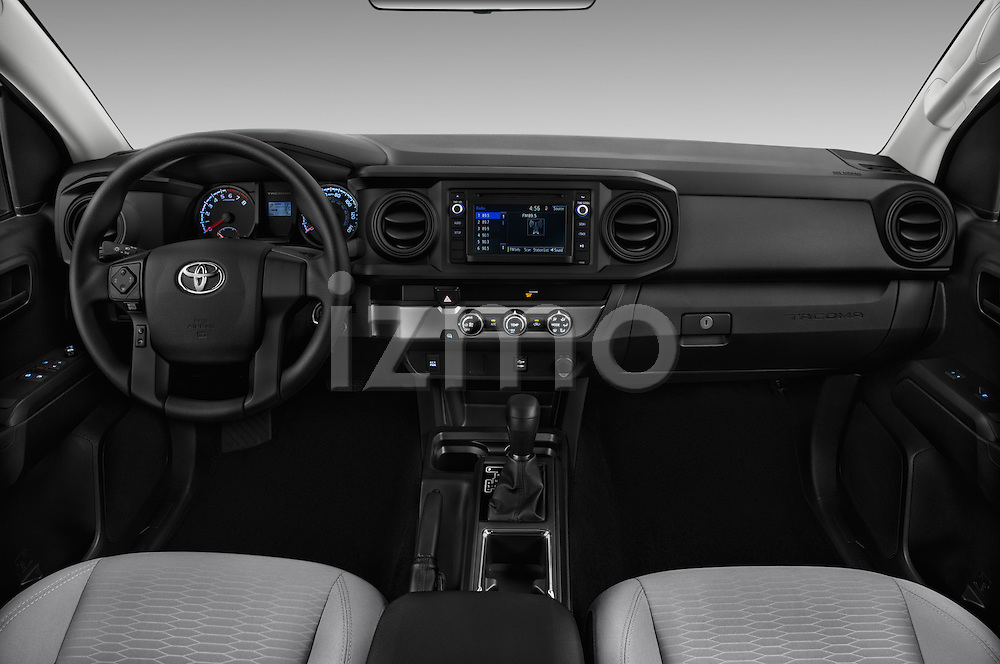 Stock photo of straight dashboard view of 2017 Toyota Tacoma SR-Access 4 Door Pick-up Dashboard