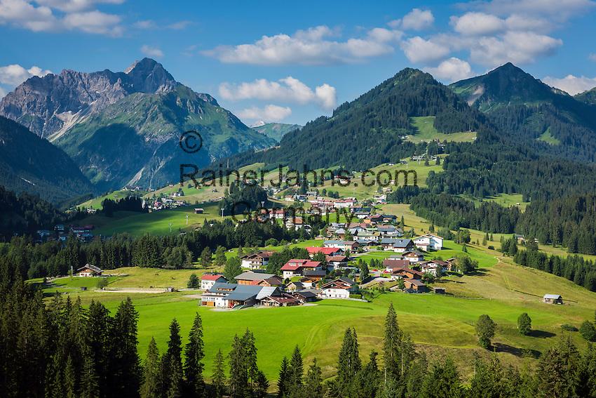 Austria, Vorarlberg, Kleinwalsertal, Riezlern: with Allgaeu Alps and summit Widderstein   Oesterreich, Vorarlberg, Kleinwalsertal, Riezlern: im Hintergrund die Allgaeuer Alpen mit dem Widderstein