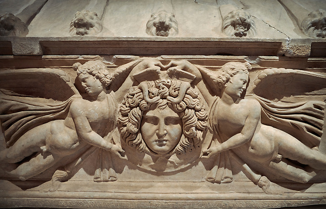 Roman relief sculpted sarcophagus with winged youths, 2nd century AD, Perge, inv 380. Antalya Archaeology Museum, Turkey