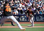 SF Giants' Conor Gillaspie plays in a spring training game against the Seattle Mariners in Peoria, Ariz., on Wednesday, March 16, 2016. <br />