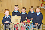 MAKING FRIENDS: Junior infants class pictured on their first day of school in Bouleenshere National School, Ballyheigue on Tuesday last were l-r: Luke O'Mahony, Milo Cronin, Jack O'Halloran, Riain Donnelly and Tony Thornton.