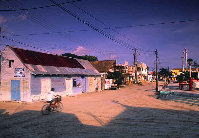 The sandy roads in downtown Isla de Holbox, Mexico.