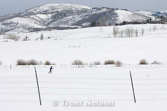 Park City - A lone cross country skier glides along fresh snow in Park City Thursday March 5, 2009..