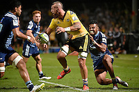 Blade Thomson ( Hurricanes ) and Lolagi Visinia ( Blues ) in action during the Super Rugby - Hurricanes v Blues at FMG Stadium, Palmerston North, New Zealand on Friday 13 March 2015. <br /> Photo by Masanori Udagawa. <br /> www.photowellington.photoshelter.com.