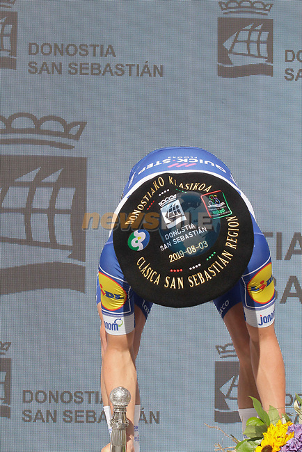 Remco Evenepoel (BEL) Deceuninck-Quick Step wins the 2019 Clasica Ciclista San Sebastian, his first World Tour victory, running 227.3km starting and finishing in Donostia-San Sebastián, Spain. 3rd August 2019.<br /> Picture: Colin Flockton   Cyclefile<br /> All photos usage must carry mandatory copyright credit (© Cyclefile   Colin Flockton)