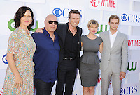 BEVERLY HILLS, CA - JULY 29: Carrie-Anne Moss, Michael Chiklis, Jason O'Mara, Sarah Jones and Taylor Handley arrive at the CBS, Showtime and The CW 2012 TCA summer tour party at 9900 Wilshire Blvd on July 29, 2012 in Beverly Hills, California. /NortePhoto.com<br />
