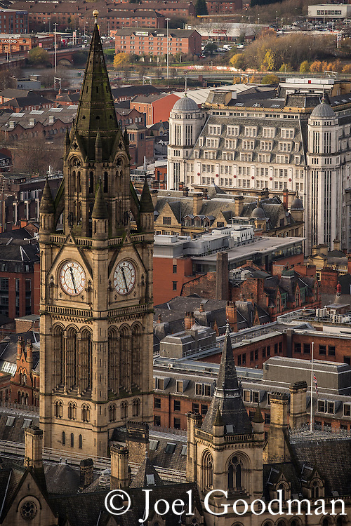 © Joel Goodman - 07973 332324 . 07/12/2013 . Manchester Town Hall clock tower . Cityscape view of Manchester . Photo credit : Joel Goodman