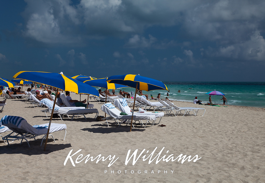 Lounge Chairs and Sun Umbrellas, South Beach, Miami, Florida