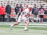 College Park, MD - April 15, 2018: Maryland Terrapins Adam DiMillo (23) gets the ground ball during game between Rutgers and Maryland at  Capital One Field at Maryland Stadium in College Park, MD.  (Photo by Elliott Brown/Media Images International)