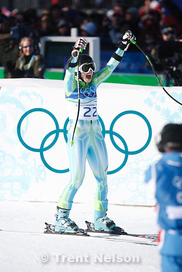 Trent Nelson  |  The Salt Lake Tribune.Tina Maze, Slovakia, silver medalist, Ladies' Super-G, at the XXI Olympic Winter Games in Whistler, Saturday, February 20, 2010.