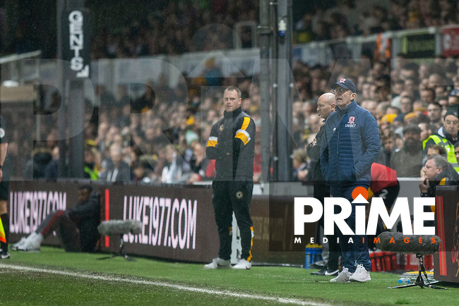 Middlesbrough manager Tony Pulis and Newport County manager Michael Flynn during the FA Cup 4th round replay match between Newport County and Middlesbrough at Rodney Parade, Newport, Wales on 5 February 2019. Photo by Mark  Hawkins / PRiME Media Images.