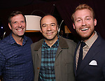 "Dan Fortune, Danny Burstein and Daniel Dunlow backstage after ""Stigma"" on September 9, 2018 at the Green Room 42 in New York City."