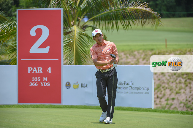 Hadi ABDUL (SIN) watches his tee shot on 2 during Rd 1 of the Asia-Pacific Amateur Championship, Sentosa Golf Club, Singapore. 10/4/2018.<br /> Picture: Golffile | Ken Murray<br /> <br /> <br /> All photo usage must carry mandatory copyright credit (© Golffile | Ken Murray)