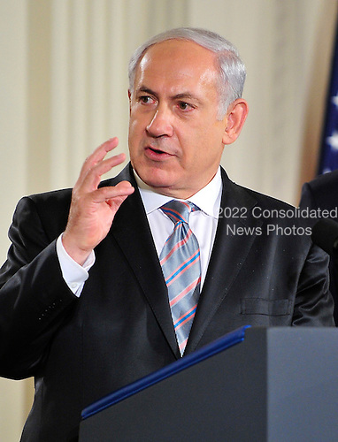 Prime Minister Benjamin Netanyahu of Israel makes remarks in the East Room of the White House following a series bi-lateral meetings in Washington, D.C. on Wednesday, September 1, 2010.  The statements are in advance of the opening of the first direct talks in two years between Israel and the Palestinian Authority scheduled to begin at the State Department in Washington, D.C. tomorrow.  .Credit: Ron Sachs / Pool via CNP.(RESTRICTION: NO New York or New Jersey Newspapers or newspapers within a 75 mile radius of New York City)